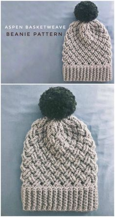 I love the basketweave pattern on this aspen basketweave crocheted beanie pattern. I can't wait to crochet up this lovely textured slouchy toque crochet pattern! crafts slouchy beanie More Gorgeous Hats! Crochet Beanie Pattern, Knit Crochet, Crochet Baby, Crochet Cable Stitch, Easy Crochet Hat, Crochet Slouchy Hat, Knitting Patterns, Crochet Patterns, Crochet Patron