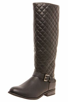 Tamsin Quilted Elastic Back Knee High Boots at boohoo.com