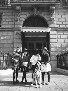 Simone, Cora, Eliza, Maeve look darling with their pooch Cinderella.
