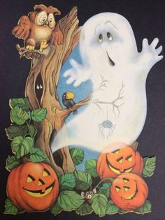 vtg hallmark halloween die cut decoration owl ghost jol pumpkin spider - Hallmark Halloween Decorations