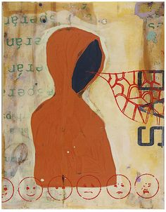 """John Randall Nelson, Title: Requiem for Trayvon. Mixed Media painting. 22""""x17"""". hoodie, metaphor"""