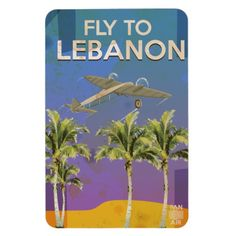 By Air To Lebanon Vintage Travel poster Rectangular Photo Magnet