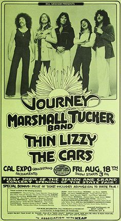Journey - Marshall Tucker Band - Thin Lizzy - The Cars - 1978 - Concert Poster