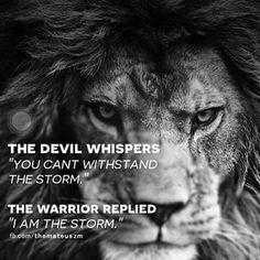 El diablo susurra no puedes con la tormenta. El guerrero contesta; yo soy la tormenta.