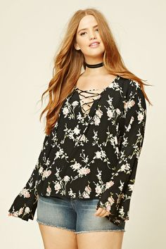Forever 21+ - A woven top featuring a lace-up V-neckline, long bell sleeves, and an allover floral print.