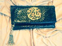 Handmade Arabic calligraphy clutch