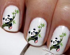20 pc Panda Bear Nail Art Panda Bears Panda Love by EasyNailTrends Nail Art Designs, Animal Nail Designs, Animal Nail Art, Panda Bear Nails, Panda Nail Art, Panda Bears, Neon Nail Art, Neon Nails, Seahawks Nails