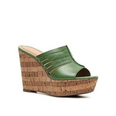 Love these leather green wedges with real cork sides