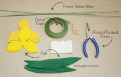 Supplies for Felt Daffodils