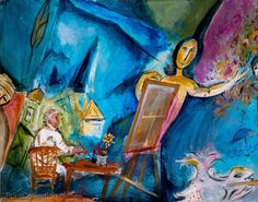 """""""Chagall's Paris"""", Mixed Media on Canvas, 24 x 36åÊinchesåÊby Alixandra Martin. Alixandra Martin has traveled throughout the U.S. and Europe studying and creating art. Her recent endeavors include Ill"""