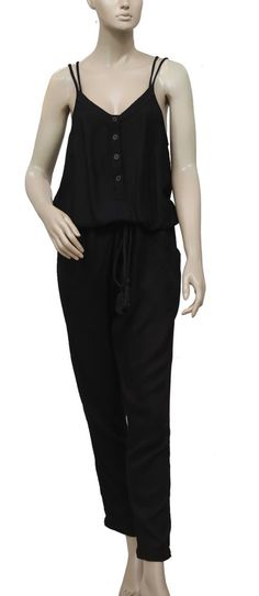 d5bec597a3d1 179068 New Free People Buttoned Sleeveless Draw String Black Jumpsuit Dress  M  fashion  clothing