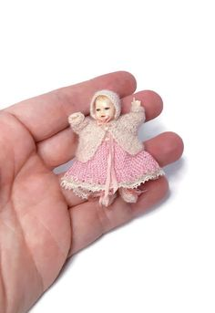 HANDMADE hand knitted matinee set in white or pink, in 1:12 scale, dollhouse clothes,