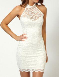 White Lace Short Dress - Evening Dresses