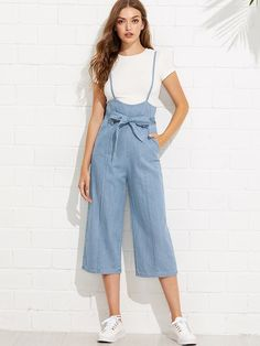To find out about the Tie Waist Wide Leg Denim Overalls at SHEIN, part of our latest Denim Overalls ready to shop online today! Teen Fashion Outfits, Fashion Pants, Look Fashion, Korean Fashion, Fashion Dresses, Fashion Design, Cute Casual Outfits, Casual Dresses, Choli Dress