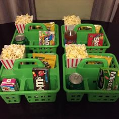 Kids Movie Night Love this idea, snacks, soda popcorn, and candy. Especially it being somewhat decent sized portions!