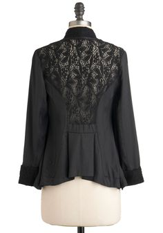 Replace the back panel of a jacket or cardigan with lace.