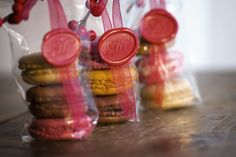 Self-made macarons wrapped with monogrammed wax seals –… How To Make Macarons, Wax Seals, Monograms, Inspiration, Baking, Cake, Food, Kitchens, Projects