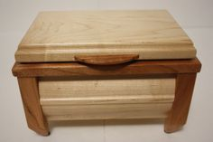 Unique Tapered Leg Handcrafted Wooden Maple and Cherry Tea, Keepsake or Jewelry Box. $50.00