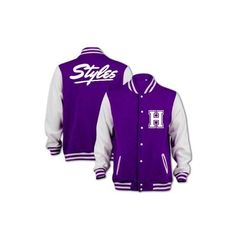 Bang Tidy Clothing Unisex Styles Varsity Jacket ($47) ❤ liked on Polyvore featuring outerwear, jackets, one direction, varsity-style bomber jacket, varsity style jacket, letterman jackets, purple jacket and varsity bomber jacket