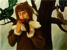 Young girl eating a bird (The pleasure)  Jeune fille mangeant un oiseau - Le Plaisir  Artist: Rene Magritte  Completion Date: 1927  Place of Creation: Paris, France