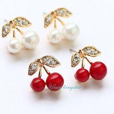 Yiwu kingstar 2015 Fashion Simple and Elegant Cherry Shape Stud Earrings  For Women Gold Plated Fine Jewelry 24d2eba5d99d