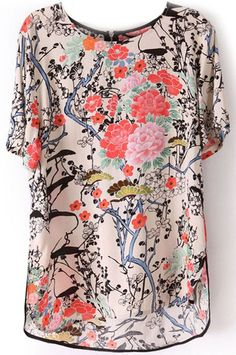Multicolor Floral Round Neck Loose Chiffon Blouse