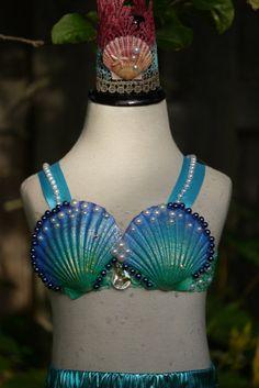 Toddler baby Mermaid top, mermaid costume, mermaid birthday outfit, under the sea mermaid bra. Mermaid swimwear, mermaid bathing suit top