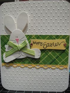 handmade Easter card … punch are bunnie … green plaid paper band … lots of dots from embossing folder texture … great card! handmade Easter card … punch are bunnie… Punch Art Cards, Do It Yourself Inspiration, Embossed Cards, Greeting Cards Handmade, Handmade Easter Cards, Diy Easter Cards, Card Tags, Kids Cards, Creative Cards