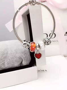 50% OFF!!! $159 Pandora Bangle Charm Bracelet Red White. Hot Sale!!! SKU: CB02055 - PANDORA Bracelet Ideas