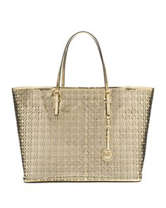 Women's Shoulder Bags - Michael Kors Flower Perforated Medium Travel Tote in Gold * Check out the image by visiting the link. How To Become Pretty, Cute Work Outfits, What's Your Style, Signature Look, Valentino Rockstud, Michael Kors Tote, Travel Tote, Kinds Of Shoes, Crazy Shoes