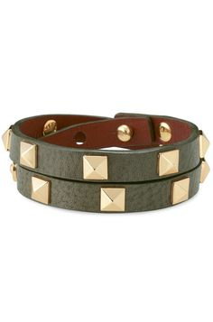 "#Stella & #Dot #Pyramid #Double #Wrap #Bracelet $59 - #Gold plated pyramid #studs add dimension to an Italian double wrap #olive #green #leather band.  As seen in Ladies Home Journal!  16"" length.  Stud closure.  Adjustable to fit most wrists. Shop with me today @ www.stelladot.com/sitesNanciDalton"