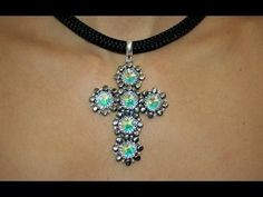 Cross with Montee Embellishments Pendant Cross Choker, Cross Earrings, Beaded Anklets, Beaded Necklace, Beaded Bracelets, Bead Crochet Patterns, Beaded Jewelry Patterns, Diy Jewelry, Handmade Jewelry