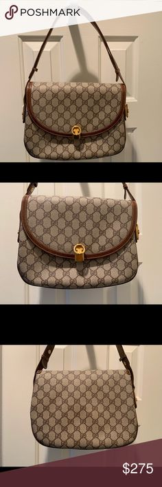 8f21e92609ec2a GG pattern, leather bag Gucci Bags Shoulder Bags. See more. 🎁AUTHENTIC VINTAGE  GUCCI CANVAS LOGO BAG Purchased in Florence, this great, classic Gucci