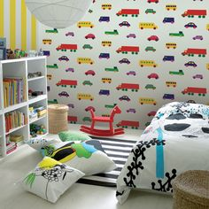 Marimekko has always represented bold, bright and graphic textile design. It works great for adult and children's spaces alike. We dug into the archives and found eight examples of Marimekko in kids' spaces as color inspiration. Boys Room Wallpaper, Wallpaper Decor, Home Wallpaper, Luxury Wallpaper, Nursery Wallpaper, Wallpaper Direct, Modern Wallpaper, Wallpaper Ideas, Car Themed Rooms