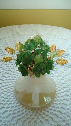 VINTAGE IRICE/DEVILBISS PERFUME BOTTLE STUNNING GREEN FLORAL