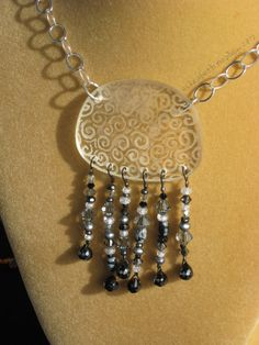 Jelly Fish Necklace  clear  upcycled eyewear  by elizabethnephew, $35.00