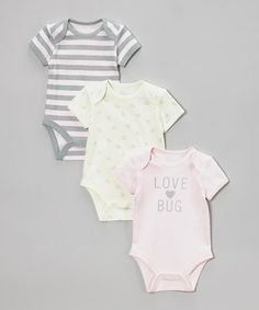 Another great find on #zulily! Pink, Yellow & Gray 'Love Bug' Bodysuit Set - Infant by Vitamins Baby #zulilyfinds