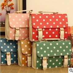 Free Shipping 2013 women's bags polka dot cute small gentlewomen bag candy handbag cross-body ladies handbag leather-bag  B2892