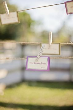 clever idea to hang table cards instead of setting them on a table