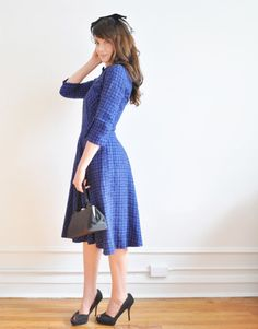 sapphire blue 1950 dress and cardigan . mid century two piece set by DOTTO