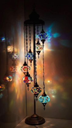 "Customizable FLOOR Lamp – Turkish Moroccan Mosaic Floor Tiffany Night Light 7 Globes – 59 "" - All For Decoration Turkish Lamps, Moroccan Lamp, Moroccan Lanterns, Turkish Lights, Turkish Decor, Pendant Chandelier, Night Lamps, Hanging Lights, Hanging Lamps"