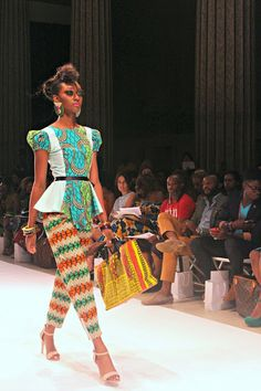 African Prints in Fashion: AFWNY: Kaela Kay Modele haut peplum wax African Inspired Fashion, African Print Fashion, Fashion Prints, African Prints, African Attire, African Wear, African Dress, African Outfits, African Clothes