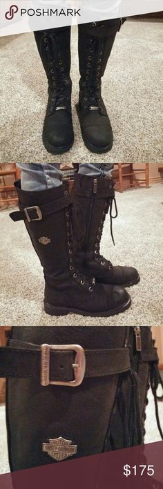 Leather Harley-Davidson Boots size 7 Like Brand New, Leather Harley- Davidson Riding Boots. Harley-Davidson Shoes Combat & Moto Boots