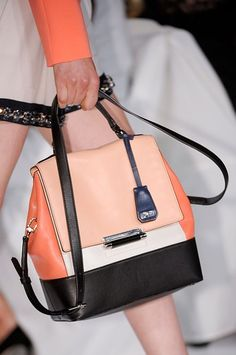 color-block satchel at DVF in shades of peach and orange