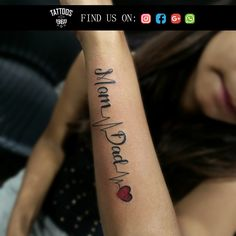 is the oldest and best tattoo studio in Pune. We are health registered and sterile tattoo studio based In Pune and Mumbai. Mum And Dad Tattoos, Hand Tattoos For Girls, Girl Back Tattoos, Tattoos For Daughters, Mom Dad Tattoo Designs, Tattoo Designs For Girls, Tattoo Designs Men, Maa Paa Tattoo, In Loving Memory Tattoos