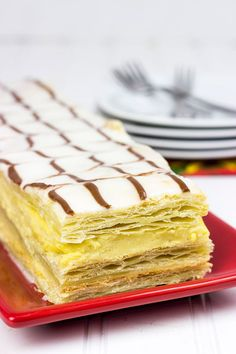Classic French Napoleons feature layers of flaky dough filled with silky vanilla pastry cream.