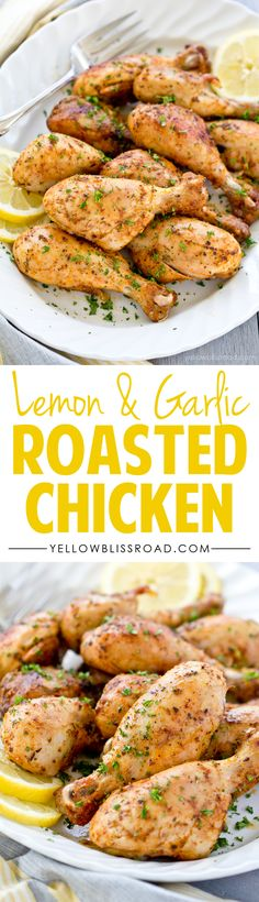 Tender and Flavorful Lemon Garlic Roasted Chicken Legs (spicy garlic chicken recipe) Roast Chicken Drumsticks, Boneless Chicken, Roast Chicken Marinade, Chicken Drumstick Marinade, Grilled Chicken Drumsticks, Braised Chicken, Barbecue Chicken, Chicken Seasoning, Beef Recipes
