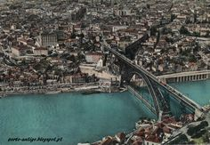 PORTO vista aérea anos 1960 - Postal antigo - PORTUGAL OPORTO Porto City, Douro, Algarve, City Photo, Europe, River, World, Places, Outdoor