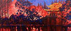 """"""" The Magical Night of the Flying Bat """" 32"""" x 72"""" oil on canvas. As a part of the my show in Shanghai, was a fund raising auction for impoverished children education in China. I donated this painting which sold for $ 80.000, highest price ever paid for my work. Kids Education, Shanghai, Raising, Oil On Canvas, Past, Auction, China, Night, Children"""
