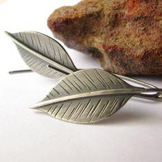 Long Leaf Earrings  Sterling Silver Leaves  Silver by Mocahete, $68.00